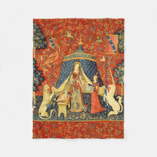Lady and the Unicorn Medieval Tapestry Art Fleece Blanket