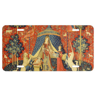 Lady and the Unicorn Medieval Tapestry Art License Plate