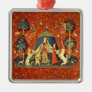 Lady and the Unicorn Medieval Tapestry Art Metal Ornament