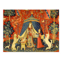 Lady and the Unicorn Medieval Tapestry Art Postcard