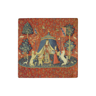 Lady and the Unicorn Medieval Tapestry Art Stone Magnet