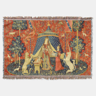 Lady and the Unicorn Medieval Tapestry Art Throw