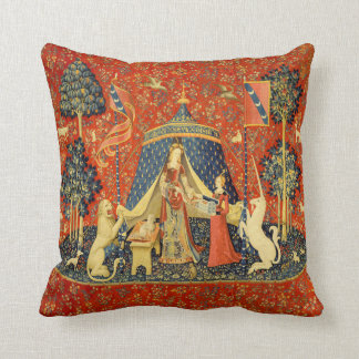 Lady and the Unicorn Medieval Tapestry Art Throw Pillow