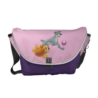 Lady and Tramp Chasing a Ball Messenger Bags