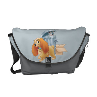 Lady and Tramp in the Trash Messenger Bags