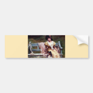 Lady and Two Pet Dogs painting Bumper Sticker