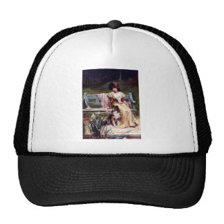 Lady and Two Pet Dogs painting Trucker Hat