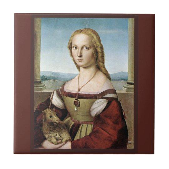 Lady and Unicorn by Raphael Renaissance Tile