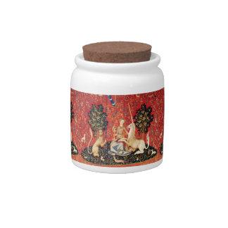 LADY AND UNICORN Lion,Fantasy Flowers,Animals Candy Jar