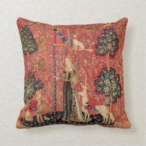 LADY AND UNICORN Lion,Fantasy Flowers,Animals Throw Pillow