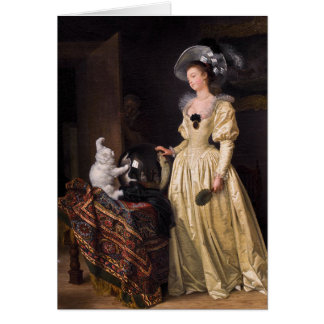 Lady and White Cat Card