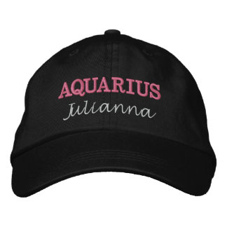 Lady Aquarius Zodiac Pink and White Embroidered Baseball Cap