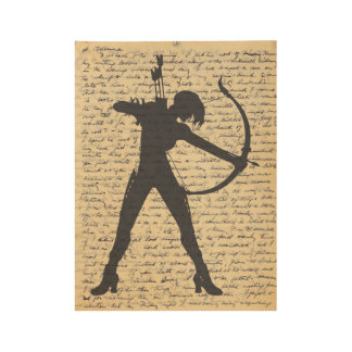 Lady Archer Silhouette on Vintage Old Letter Wood Poster