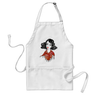 Lady art-deco red scarf adult apron