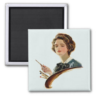 Lady Artist 2 Inch Square Magnet