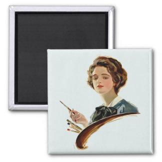 Lady Artist Refrigerator Magnets