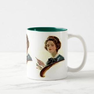 Lady Artist Two-Tone Coffee Mug