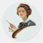 Lady Artist Round Sticker