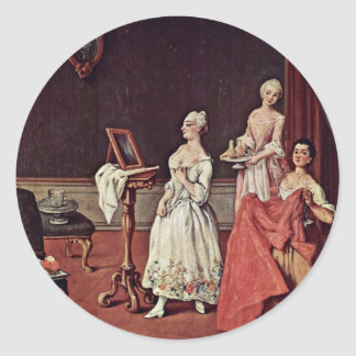 Lady At Her Toilette By Longhi Pietro Round Stickers