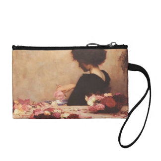 Lady at table coin purse