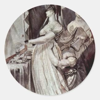Lady At The Dressing Table By Johann Heinrich Füss Round Sticker