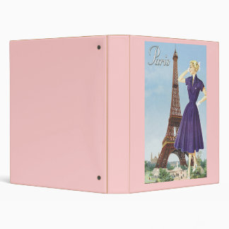Lady at the Eiffel Tower 3 Ring Binder