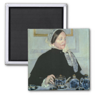 Lady at the Tea Table, 1885 (oil on canvas) 2 Inch Square Magnet