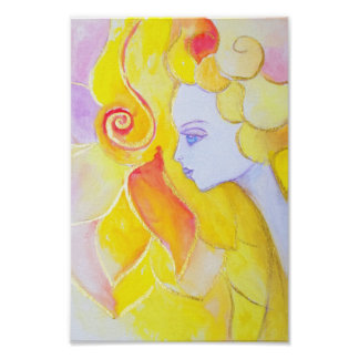 Lady Autumn Watercolor Modern Art Nouveau Painting Poster