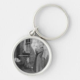 Lady & Baby Black & White Premium Round Keychain