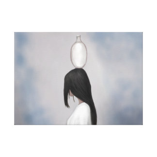 Lady Balancing Water Jug on her head Canvas Print