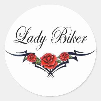 Lady Biker-2 Classic Round Sticker