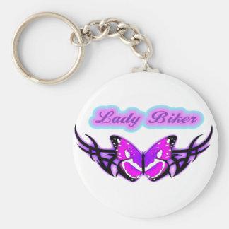 Lady Biker-3 Basic Round Button Keychain