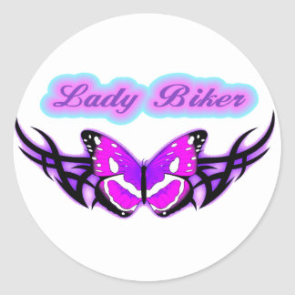 Lady Biker-3 Classic Round Sticker