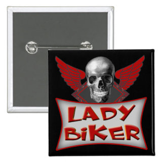 Lady Biker T shirts Gifts 2 Inch Square Button