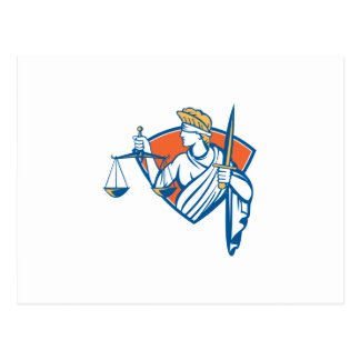 Lady Blindfolded Holding Scales Justice Sword Postcard