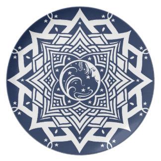 Lady Blue Moon Mandala Plates