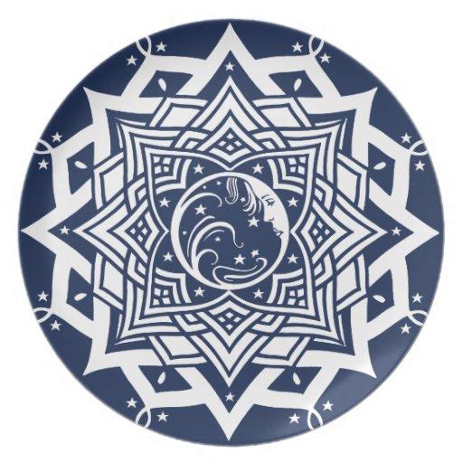 Lady Blue Moon Mandala Dinner Plate