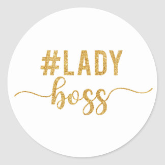 lady boss gold glitter classic round sticker