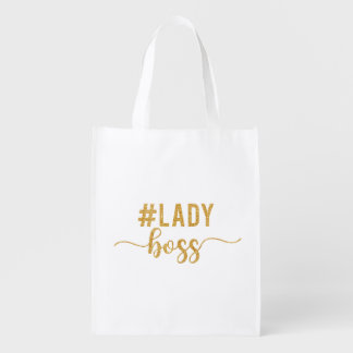 lady boss gold glitter reusable grocery bag