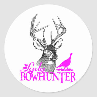 LADY BOWHUNTER DEER & TURKEY CLASSIC ROUND STICKER