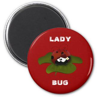 Lady Bug 2 Inch Round Magnet