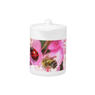Lady bug and honey bee pink flower tea pot