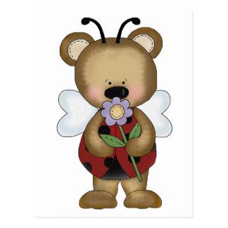 Lady Bug Baby Bear Postcard