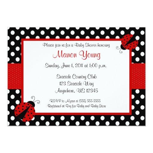 "Lady Bug Baby or Bridal Shower Invitation 5"" X 7"" Invitation Card"