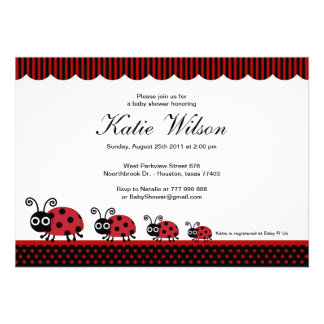 Lady Bug Baby Shower Personalized Announcements