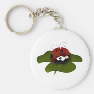 Lady Bug Basic Round Button Keychain