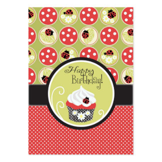 Lady Bug & Birthday Cupcake Gift Tag Large Business Card