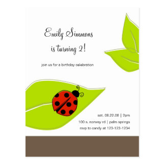 Lady Bug birthday invitation Postcards