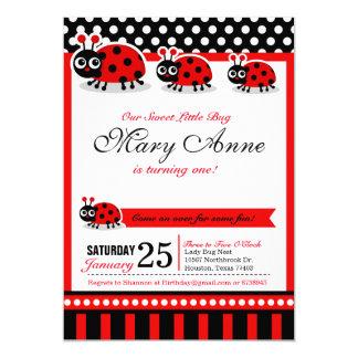 Lady Bug Birthday Party Invitation