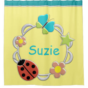 Lady Bug Butterflies Flowers ANY COLOR BACKGRND Shower Curtain